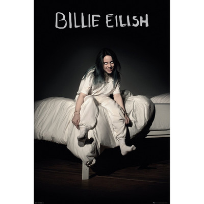 "24"" x 36"" poster featuring art from Billie Eilish's 2019 album ""When We Fall Asleep, Where Do We Go?"" Billie Eilish sitting on the edge of a bed grinning with white eyes."