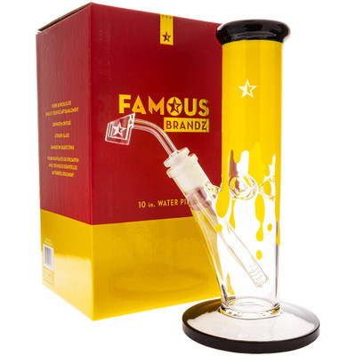 "Famous Glass Surrender 10"" Dab Rig next to its collectible display box."