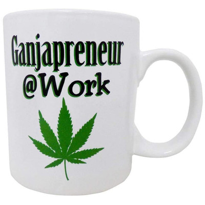 Front view of this Ganjapreneur at Work Mug for sale, showing off its graphic.