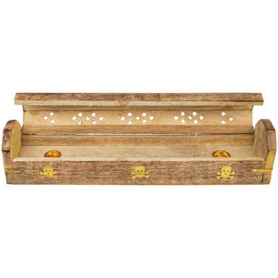 Skull & Crossbones Wooden Incense Box Burner