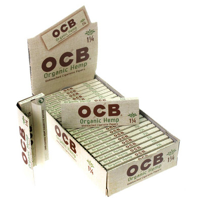 OCB natural hemp rolling papers by the box or the single never miss the organic healthy way to smoke.