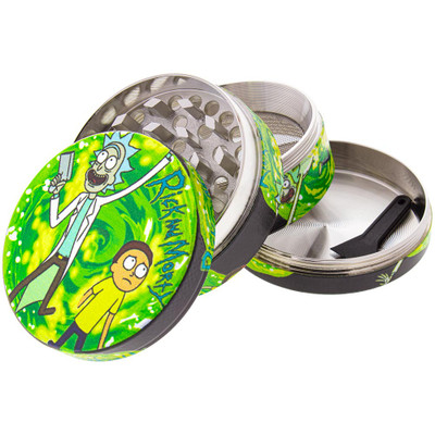 "A disassembled 50mm Rick & Morty Grinder showing all of the aluminum pieces. Shown in the ""Portal"" graphic style."