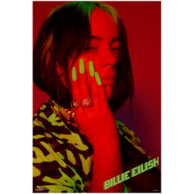 Front view of the Billie Eilish Red Poster for sale.