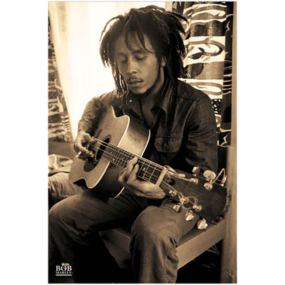 Full front view of the Bob Marley Sepia poster.