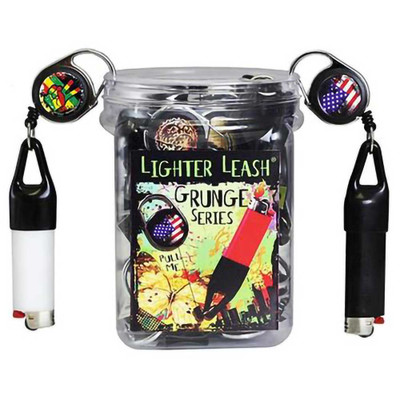 A display box of Grunge Lighter Leashes with two individual leashes hanging off the lid. Lighters not included.