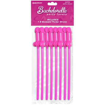 Bachelorette Party Favors Bendable Pecker Straws, 8-Pack