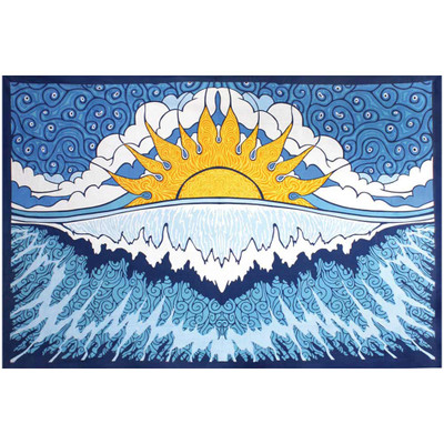 """Front view of the Sun Wave Tapestry artwork, fully spread to 60"""" by 90""""."""