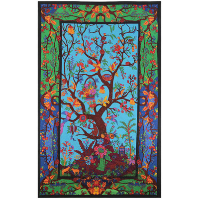 Front view of the artwork on this Tree of Life 3D Tapestry.