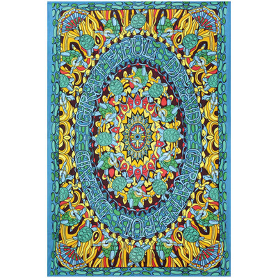 Front view of this officially licensed Grateful Dead Terrapin Dance Tapestry.