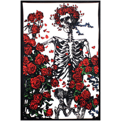 Front view of this Grateful Dead 3d Tapestry featuring Bertha the Skeleton surrounded by roses.