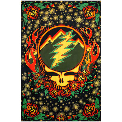 Front view of this officially licensed Grateful Dead Scarlet Fire Steal Your Face 3D Tapestry.