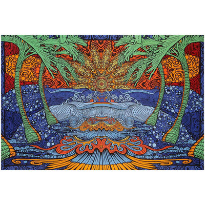 Complete view of the artwork on this Epic Tropical Island 3D Tapestry.