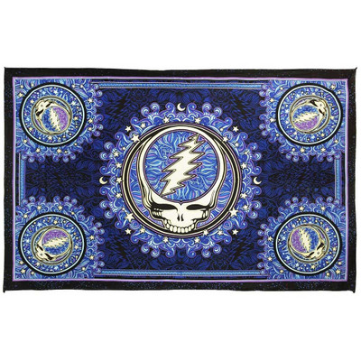 Complete front view of this Purple Steal Your Face tapestry.