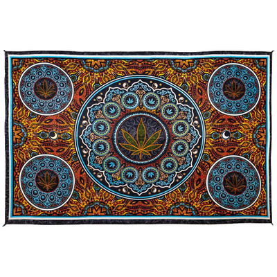 """Front view of this Marijuana Leaf Tapestry spread out to 60"""" x 90""""."""