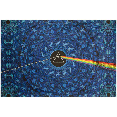 """Front view of this Pink Floyd tapestry unfurled to its full 60"""" x 90""""."""