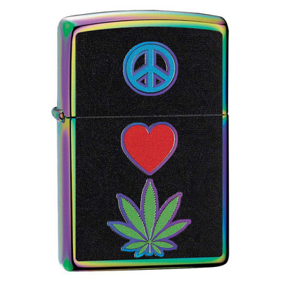 Quarter view showing the Peace, Love, Weed symbols on the front of this Zippo Lighter with its Spectrum iridescence finish.