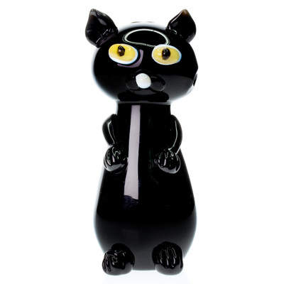 Spooky black cat with yellow eyes glass hand pipe perfect for Halloween.