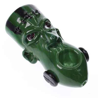 Frankenstein's monster is here for Halloween as a glass hand pipe made by Blowfish glass.