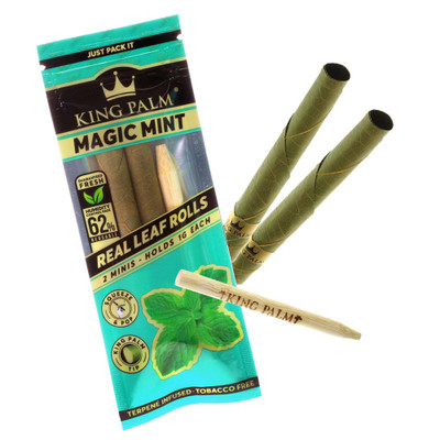 King Palm flavored magic mint pre rolled tube.