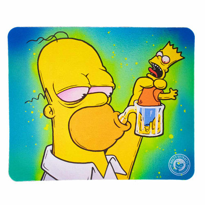 Protect your glass piece with this ultra colorful dab pad featuring homer taking a fat dab that is his son Bart.
