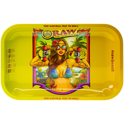 Top view showing the artwork on this Raw Brazil Rolling Tray, featuring an illustration by Cristiano Suarez.
