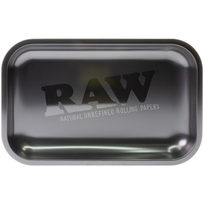 Top view of this Raw Murder'd Rolling Tray. The matte finish is contrasted with the glossy RAW logo in the center.