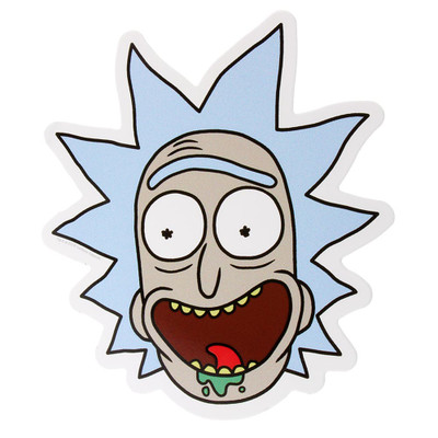 Super sticky and colorful rick face sticker.