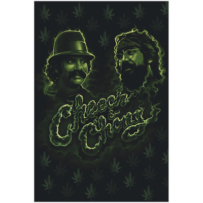 Front graphic of the Cheech and Chong Green Smoke Poster for sale.