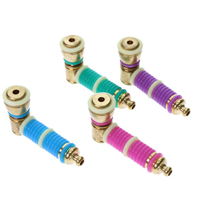 Assorted color O ring metal pipes.