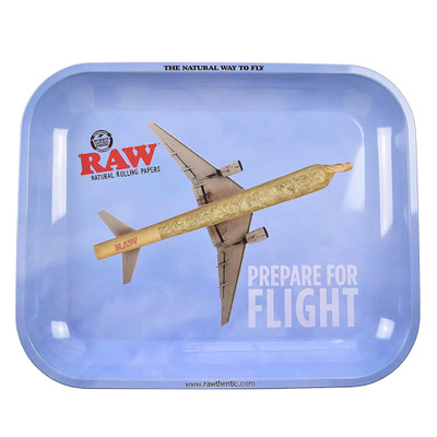Roll up on your lap, table or anywhere with this large metal rolling tray from Raw natural rolling papers.