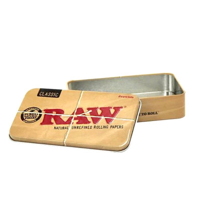 Stash your stuff inside this travel size metal tin from Raw.