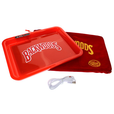 Backwoods glow in the dark rolling tray with charger cable and travel bag.