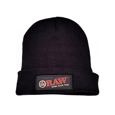 One size fits all with this super warm official Raw black knit cap.