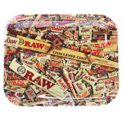 Raw natural rolling papers metal tray with a collection of Raw papers from classic to the challenge cone.