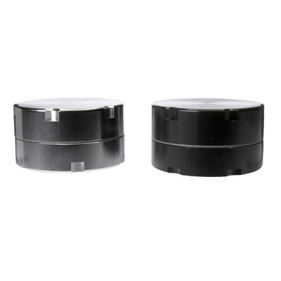 Black and silver metal herb grinder with super grips for easy grinding.