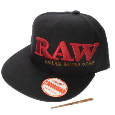 Official Raw rolling papers smokers red and black hat with a stash spot for your poker.