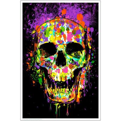 Splatter Skull Blacklight Poster
