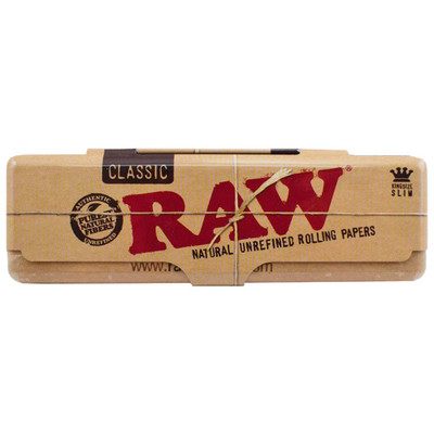 RAW Classic King Size Slim Metal Rolling Paper Case