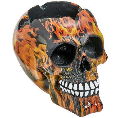 Large Flame Deal Skull Ashtray