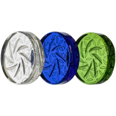 Quartz Coin Spinner Carb Cap in assorted colors. Left to right: Clear, Blue, and Green.