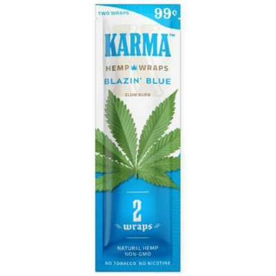 A single pack of Blazin' Blue (Blueberry) flavored, nicotine- and tobacco-free blunt wraps.
