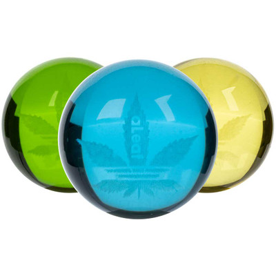 Assorted colors of these aLeaf Glass Ball Carb Caps.