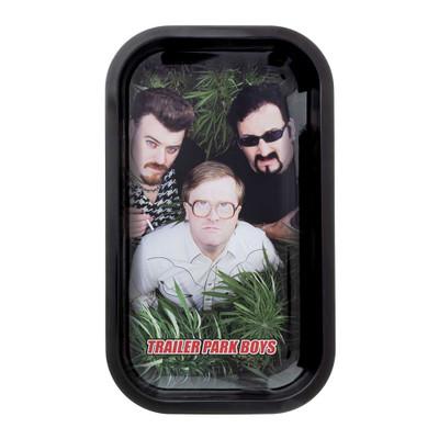 The Trailer Park Boys Bubbles, Ricky, and Julian hiding in a bush.