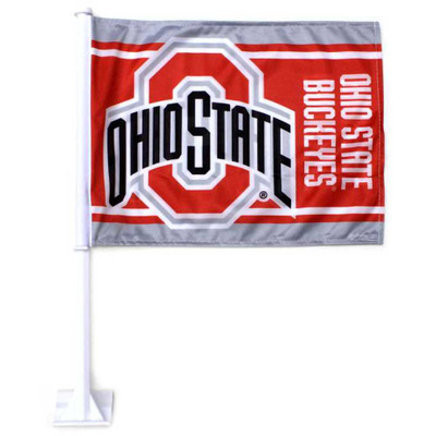 Ohio State Buckeyes Miniature Striped Flag for Cars