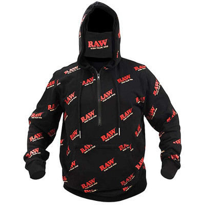 Front view of this RAW Zip Up Hoodie with its included mask.