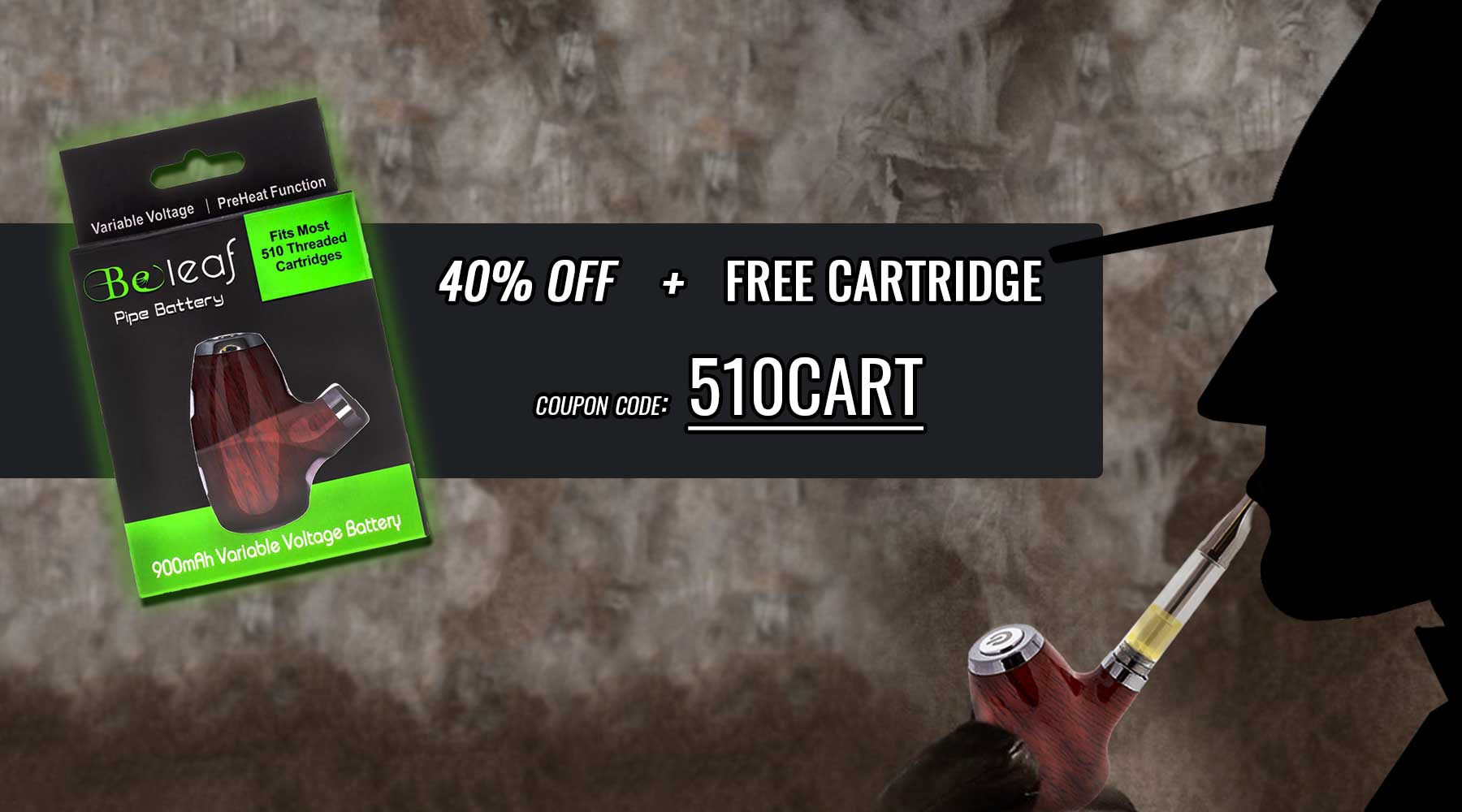 40% off our pipe shaped vape cartridge battery from the worlds best online smoke shop