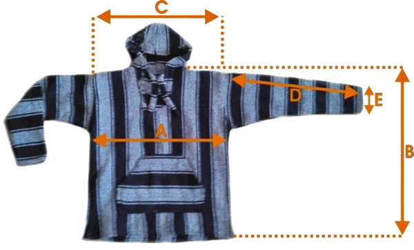 Baja hoodie with labeled arrows matching the table columns below.