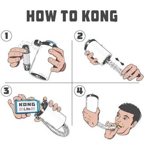 Instructions for using the Kong Beer Bong.