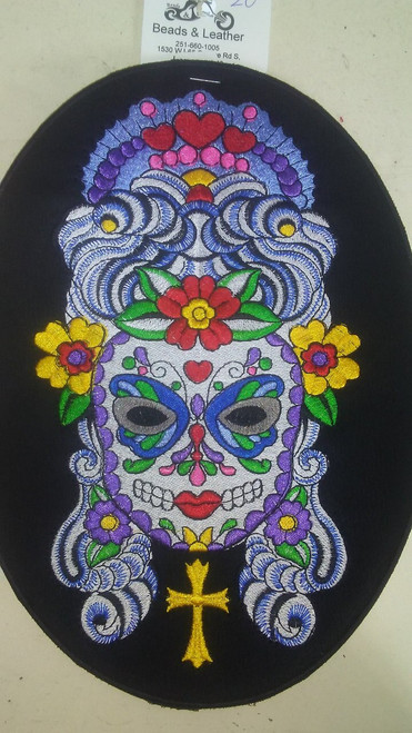 "Sugar Skull queen patch  9.8"" x 7.25"""