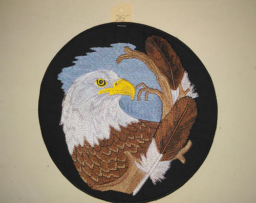 Eagle with two feathers Back patch